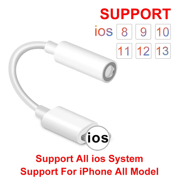 IOS 11 12 13 Headphone Adapter For iPhone 7 6 8 11 X XS XR Earphone AUX Adapter For Lightning Female To 3.5mm Male Adapter Cable