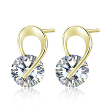 Load image into Gallery viewer, U Shape Silver Color crystal Crystal Stud Earrings For Women New Brincos Flower Wedding Fashion Jewelry Mujer Best Friend Gift