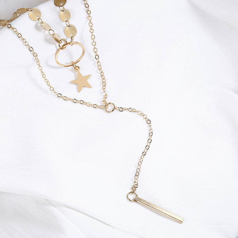 Laramoi Choker Necklace Chain Personalized Necklace Star Round Sequin Pendant Layered Necklace Statement Bohe Jewelry For Women