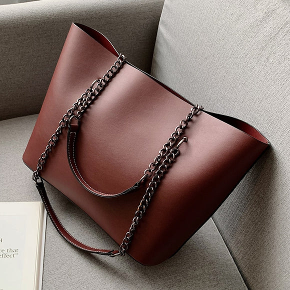 Solid Color PU Leather Shoulder Bags For Women 2019 Chain High Capacity Handbags Travel Luxury Hand Bag Female Shoulder Bag
