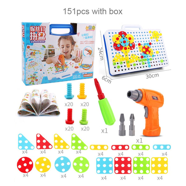 Kids Electric Drill Toys Game DIY Creative Model Building Kits Assembly Cartoon Animal Toy