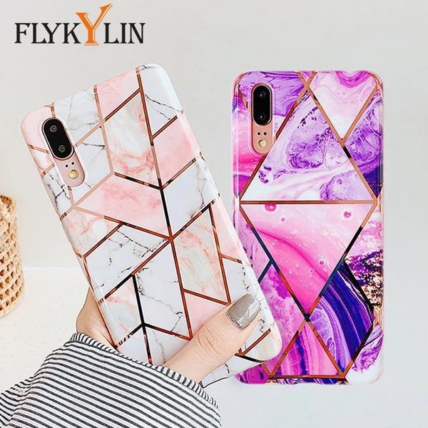 FLYKYLIN Marble Flower Case For Samsung Galaxy A40 A50 A70 A51 Back Cover Art Leaf Soft Silicone Phone Cases Cartoon Coque Shell