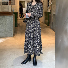Load image into Gallery viewer, women retro print midi dress long sleeve female casual vintage dresses vestidos