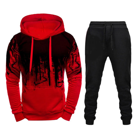 Winter Brand Tracksuit Casual Hoodies For Men Sportswear Two Piece Sets Of Thick Red Sweatshirt + Pants Sport Suit Plus 4XL