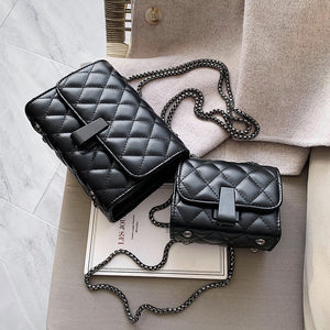 Quilted PU Leather Crossbody Bags For Women 2020 Mini Shoulder Messenger Bag Fashion Chain Handbags and Purses