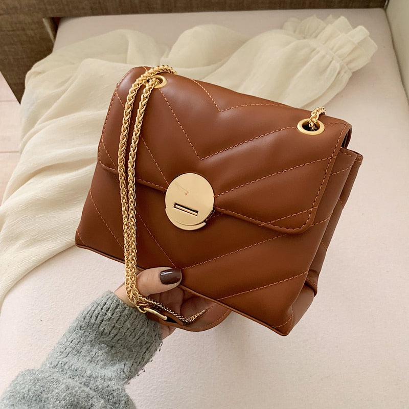 Chain PU Soft Leather Solid Color Crossbody Bags For Women 2020 Simple Fashion Shoulder Messenger Bag Female Handbags