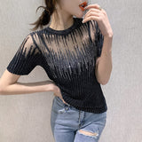 Summer Korean Clothes Knit T-shirt Sexy Diamonds Transparent