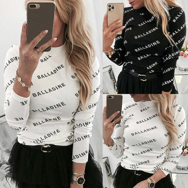 New Letter Printed T-Shirts Womens Long Sleeve Round Neck Basic Top Female Long Sleeve Slim Fit T Shirt Streetwear Tee Shirt