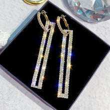Load image into Gallery viewer, 4 Colour Fashion Long Geometric Drop Earrings Luxury Gold Silver Color Rectangle Rhinestone Earring for Women Party Jewelry Gift