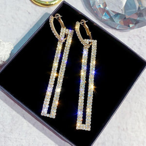 4 Colour Fashion Long Geometric Drop Earrings Luxury Gold Silver Color Rectangle Rhinestone Earring for Women Party Jewelry Gift