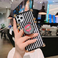 Load image into Gallery viewer, For Samsung S8 S9 Plus Note 8 Note 9 Note 10 Coque Luxury Square Metal Rivet Back Cover INS Flowers Full Protective Holder Case