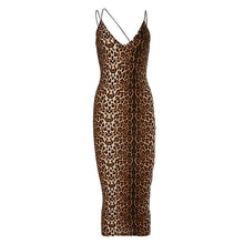Load image into Gallery viewer, Leopard Print Strap Sexy Vintage Dress