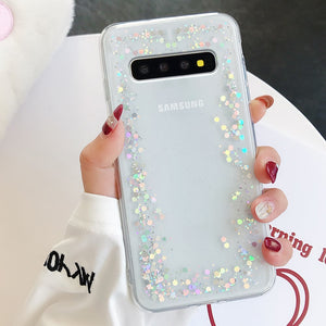 LAPOPNUT Bling Star Glitter Soft TPU Sequins Phone Cases for Samsung S9 S8 Plus S7 Edge S10 S10e A8 2018 A3 A5 2017 Clear Cover