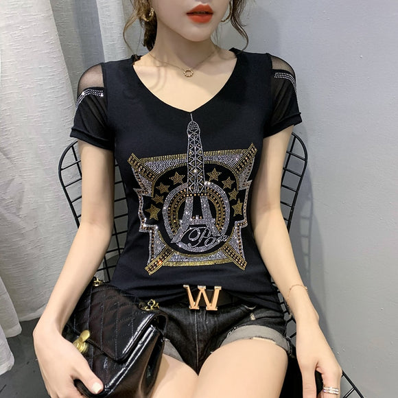 Summer Korean Clothes T-shirt Fashion Diamonds Eiffel Tower