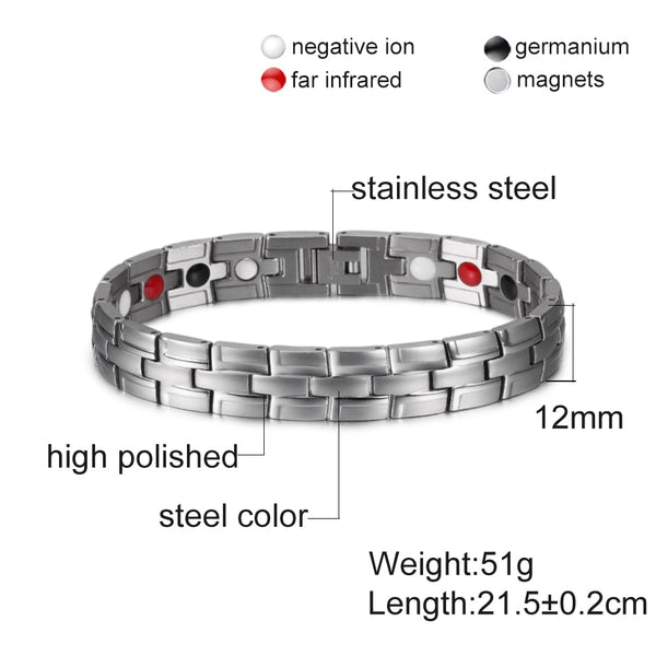 Health Magnetic Bracelet Male Stainless Steel Wrist Band Magnetic Bracelet Men Hand Chain Energy Germanium Bracelets for Men