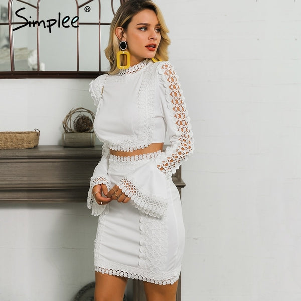 Simplee Elegant women lace bodycon dress White 2 pieces hollow out autumn dress suit Winter sexy party club short party dresses
