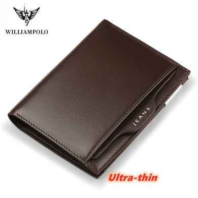 WilliamPolo Full-Grain leather Short Wallet For Men Fashion Credit Card Holder Coin Purses Business Ultra-thin Cowhide P220