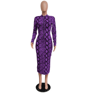 Echoine Sexy Snake Print Bodycon Long Dress Long Sleeve Zipper Women Autumn Evening Party Night Dress Vintage Vestidos Outfits