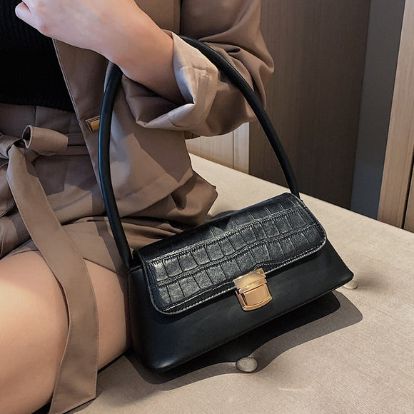 Solid Color Stone Pattern PU Leather Shoulder Bags For Women 2019 Luxury Quality Small Travel Handbags Phone Purses Hand Bag