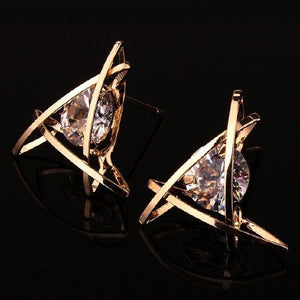 hollow square triangle zircon earrings