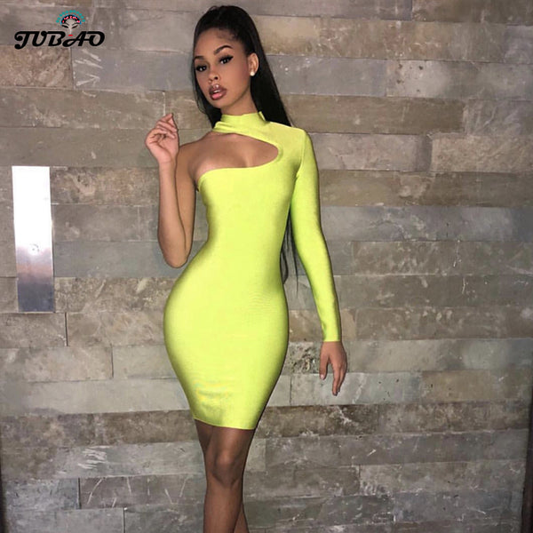 Elastic bandage dress One Shoulder Long Sleeve Black Fluorescent green hip leisure off-the-shoulder tight nightclub socialite