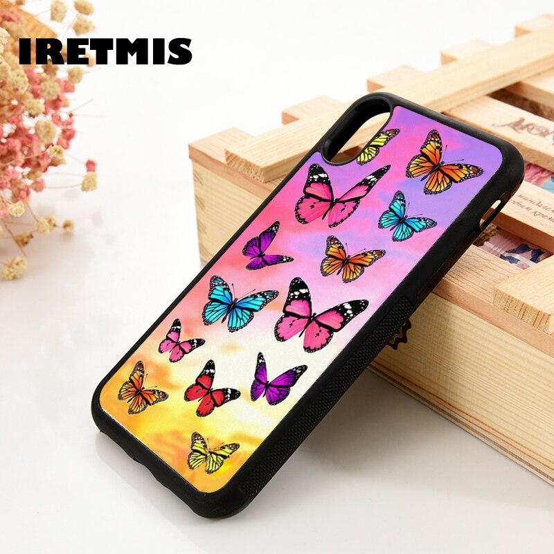 Iretmis 5 5S SE 6 6S Soft Silicone Rubber phone case cover for iPhone 7 8 plus X Xs 11 Pro Max XR Colorful Butterfly Patterns