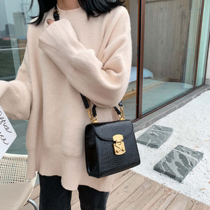 Mini Stone Pattern PU Leather Crossbody Bags For Women 2019 Lock Designer Shoulder Messenger Bag Female Travel Handbags
