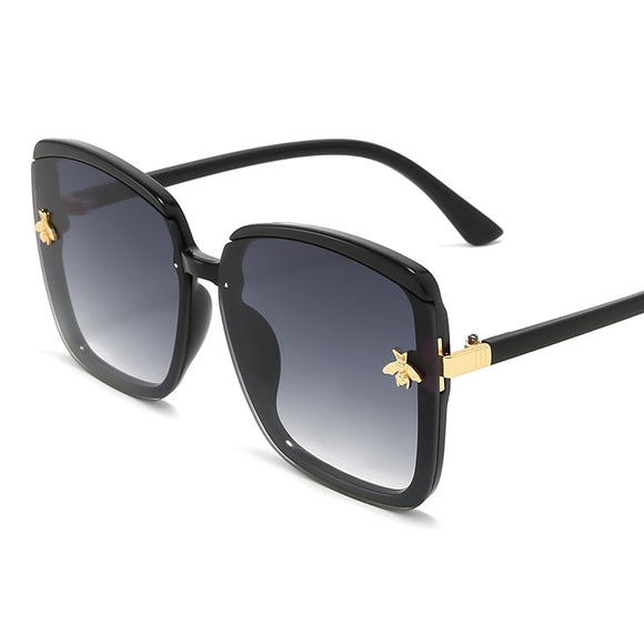 Honey bee sunglasses woman vintage retro flat top Thin Shadow sun glasses