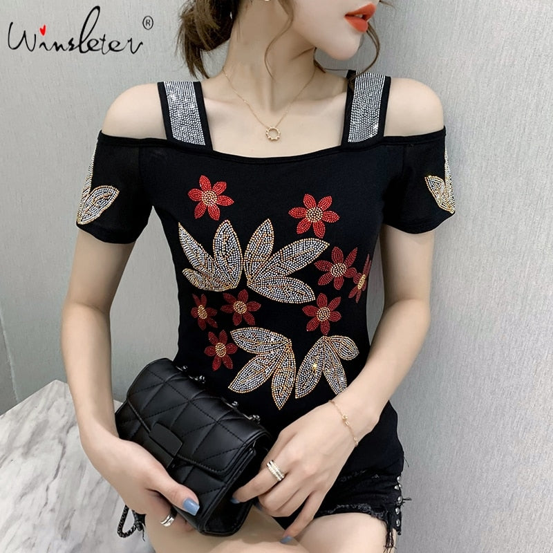 Summer Fashion European Clothes T-shirt Sexy Off Shoulder Diamonds Mesh