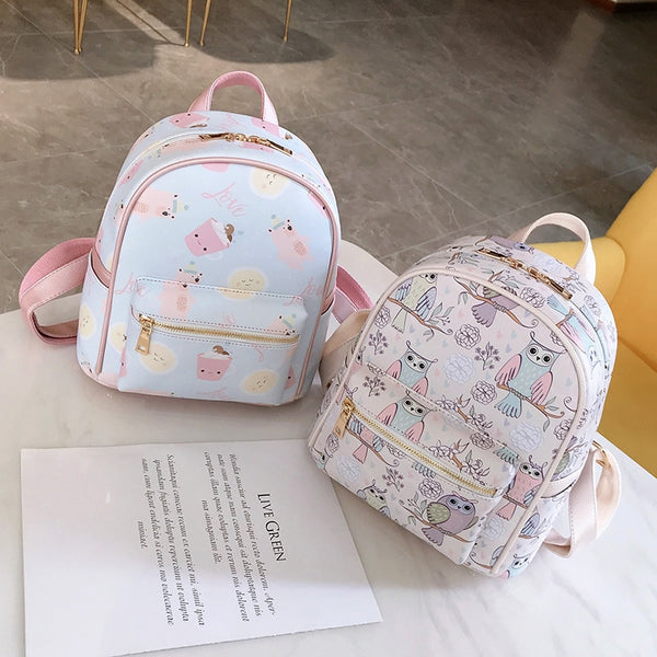Graffiti Backpacks For Women 2019 PU Leather Back Pack Ladies Fashion Travel Backpack  For School Teenagers Girls High Quality