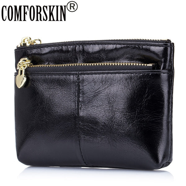 COMFORSKIN Brand 2020 Premium Genuine Oil Wax Leather Simple Coin Purse Multi-function European and American Style Key Wallets