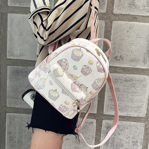 LEFTSIDE 2018 Women PU Leather Lovely Printing feminine Backpack Female Small Backpacks For Teenage Girls Rucksack Sac a dos
