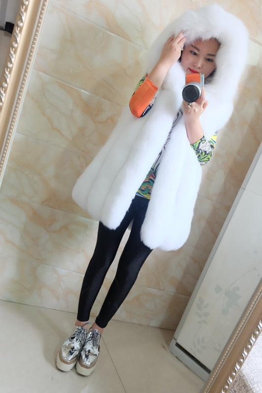 Spring new women hooded fur coat silver