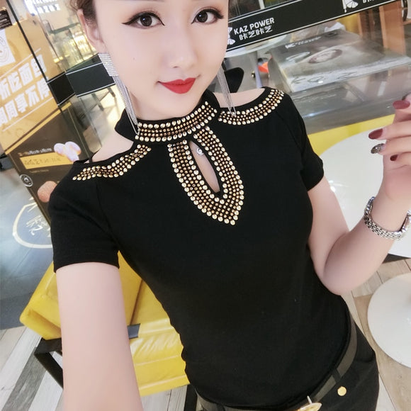 Fashion Korean Hollow Out Off Shoulder Diamonds Tshirt