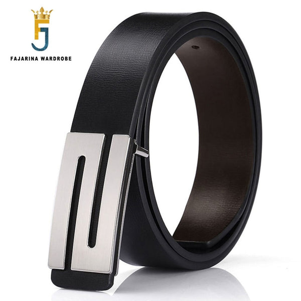 FAJARINA Brand Men's Quality Design PU 2nd Layer Genuine Leather Black Fashion Belts Male Jeans Belt Apparel Accessories for Men