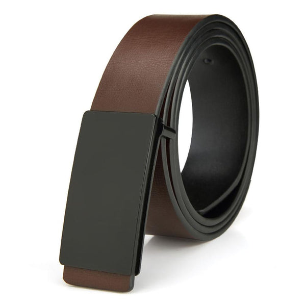 Brand Men's Quality Design PU 2nd Layer Genuine Leather Black Fashion Belts