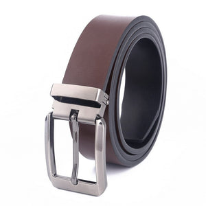 LannyQveen Double-sided use fashion mens pin buckle belt Genuine Leather wholesale belts for men free shipping