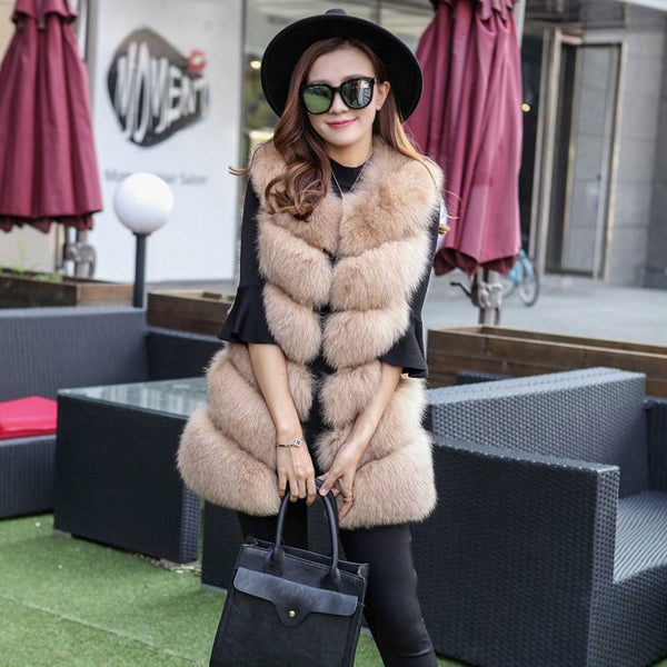 UPPIN Winter Warm Vest New Arrival Fashion Women Import Coat Fur Vest High-Grade Faux Fur Coat Fox Fur Long Vest Plus Size S-3XL