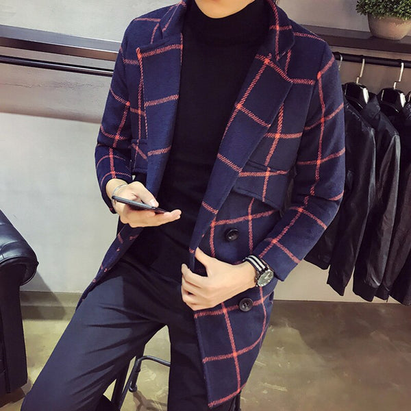 YASUGUOJI new 2018 fashion Turn-down Collar plaid coat men thick winter wollen coat men slim long jacket men erkek kaban NDY12