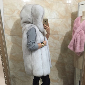 2019 Spring new women hooded fur coat silver fox imitation fur vest plus size ladies fox fur coat