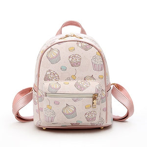 Women PU Leather Lovely Printing feminine Backpack