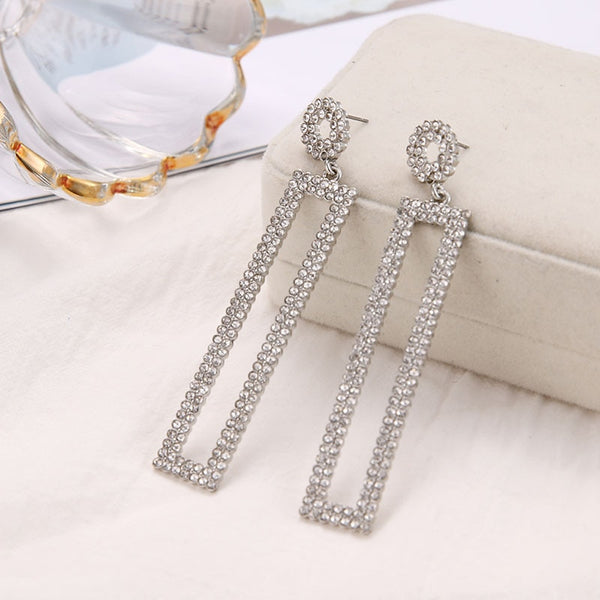 Gold Color Long Crystal Square Dangle Earrings for Women