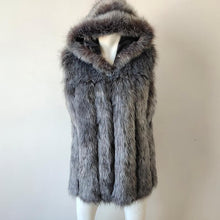 Load image into Gallery viewer, Spring new women hooded fur coat silver