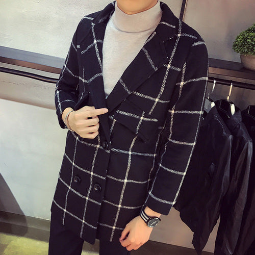 fashion Turn-down Collar plaid coat