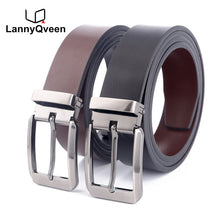 Load image into Gallery viewer, LannyQveen Double-sided use fashion mens pin buckle belt Genuine Leather wholesale belts for men free shipping