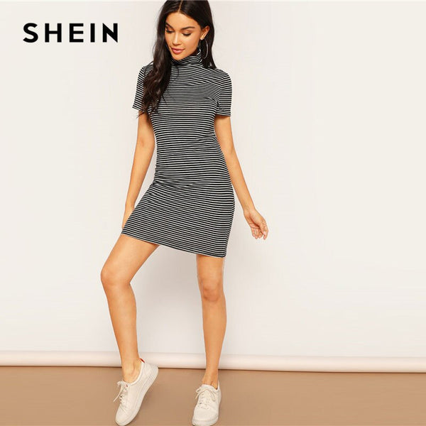 SHEIN Spring High Neck Black and White Striped Mini Pencil Dress Women Casual Fitted Stretchy Short Sleeve T Shirt Dress