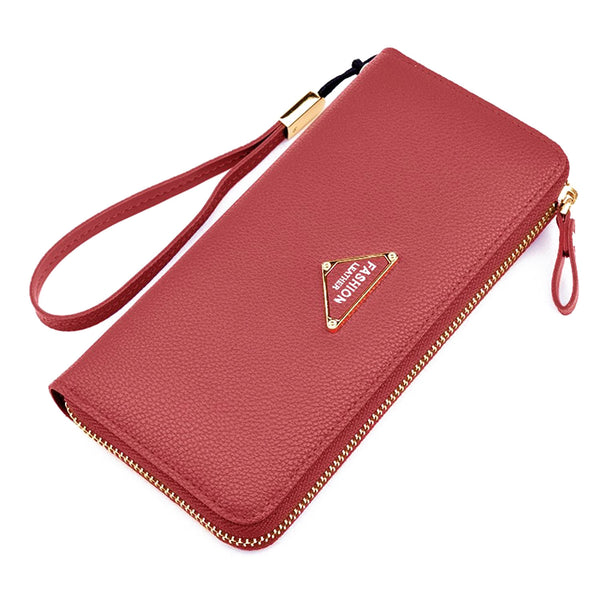 ABDB Womens Leather Large Capacity Multi Card Cellphone Holder Organizer Wallets(Red)