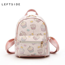 Load image into Gallery viewer, LEFTSIDE 2018 Women PU Leather Lovely Printing feminine Backpack Female Small Backpacks For Teenage Girls Rucksack Sac a dos