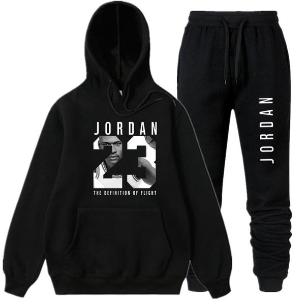 OLOEY jordan 23 white Tracksuit sweat men hoodie  & sweatpants Fashion jogger men set Spring streetwear jogging suit for male