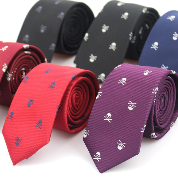 New Casual Slim Skull Ties For Men Classic Polyester Neckties Fashion Man Tie for Wedding Party Male tie Neckwear